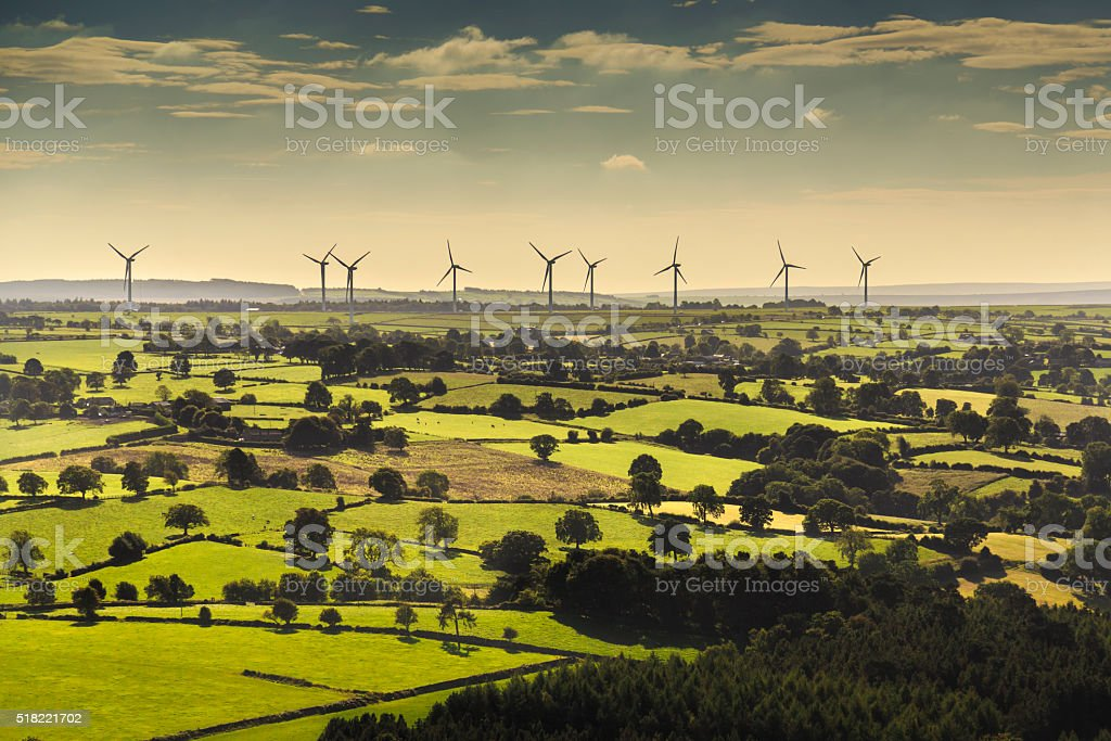 Wind turbines viewed from helicopter stock photo