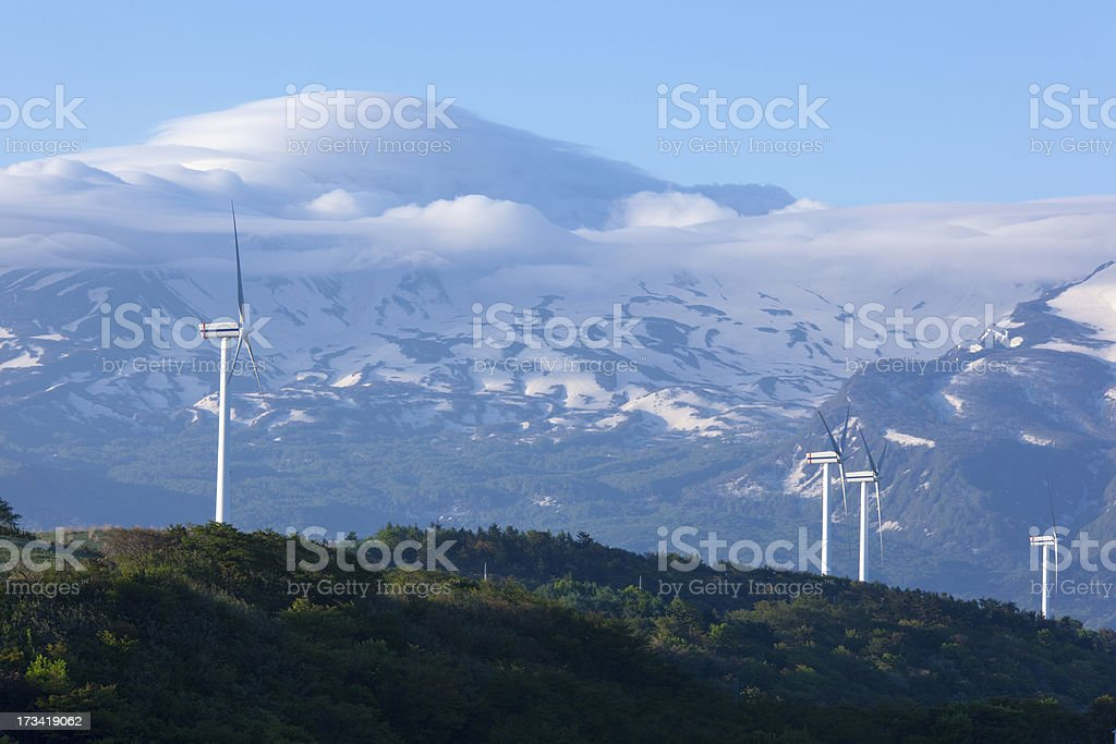 Wind turbines with a scenic snow-capped mountain royalty-free stock photo