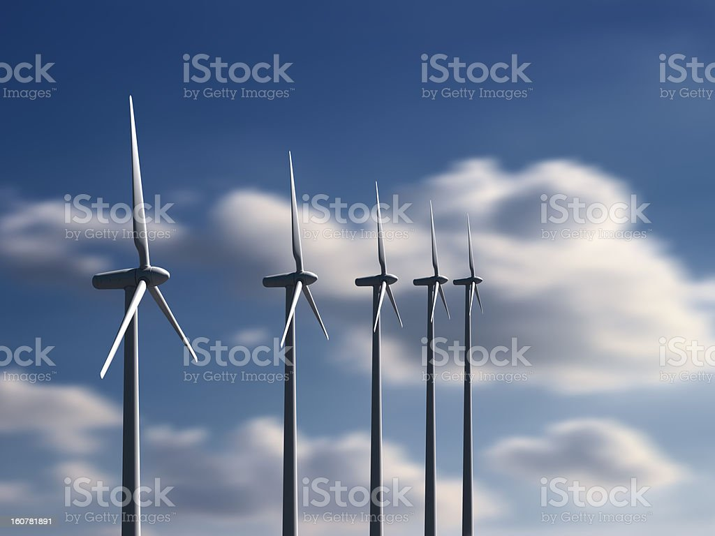 Wind turbines with sky and clouds on background royalty-free stock photo