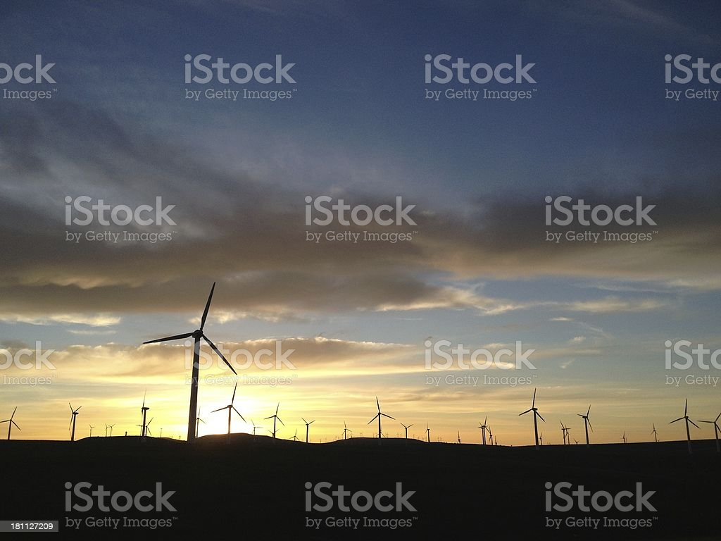 wind turbines with sunset, royalty-free stock photo