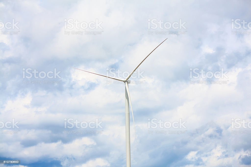Wind turbines with the clouds and sky stock photo