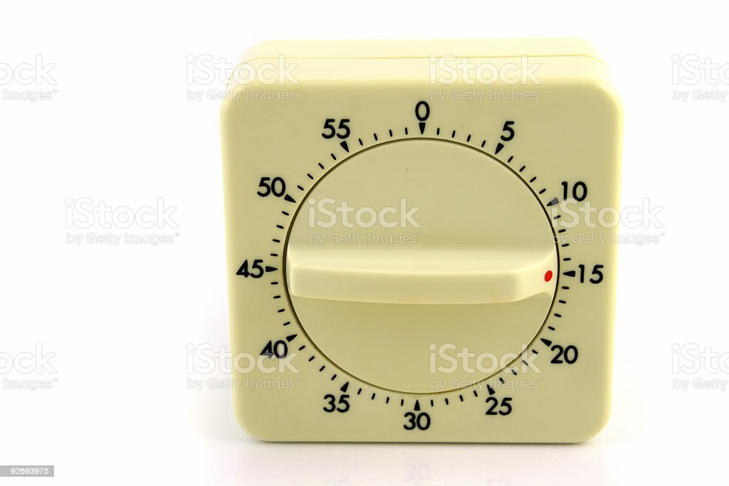 Wind up Timer at 15 Minutes stock photo