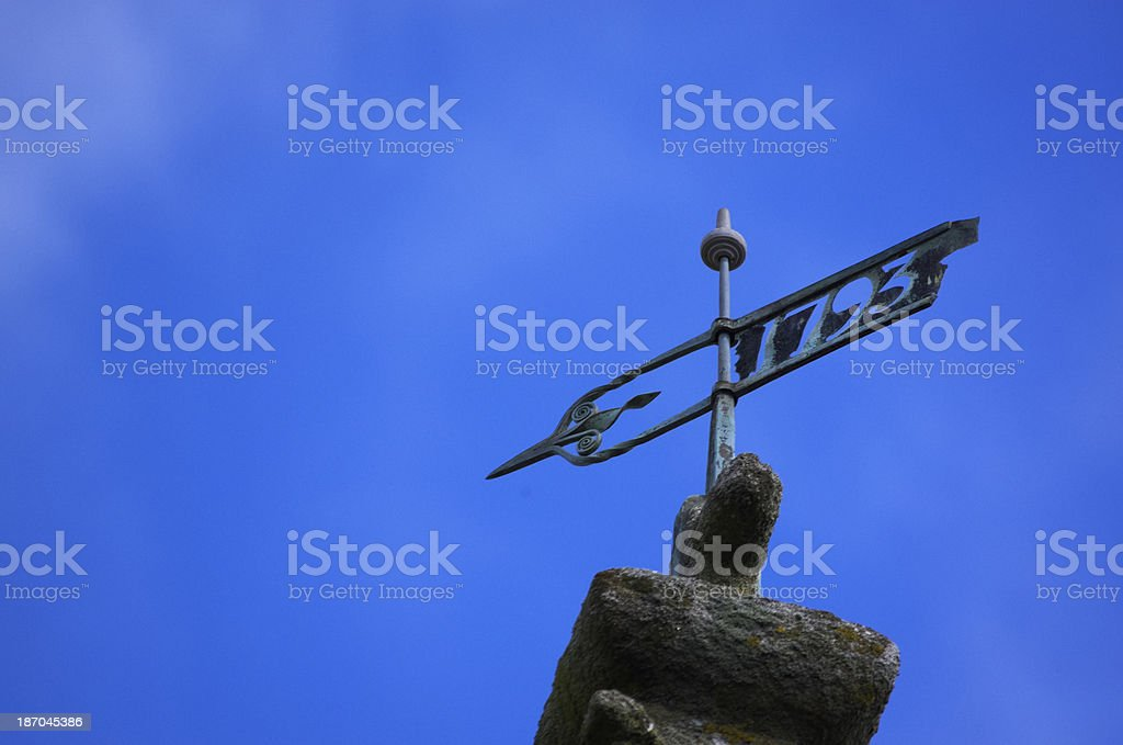 Wind Vane On Church Tower Dated 1793 royalty-free stock photo