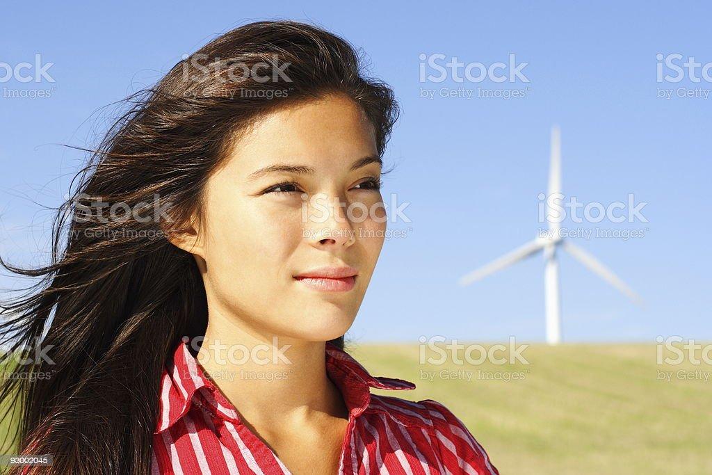 Wind woman stock photo