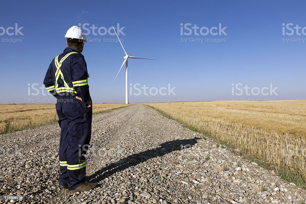 Wind Worker at Turbine royalty-free stock photo