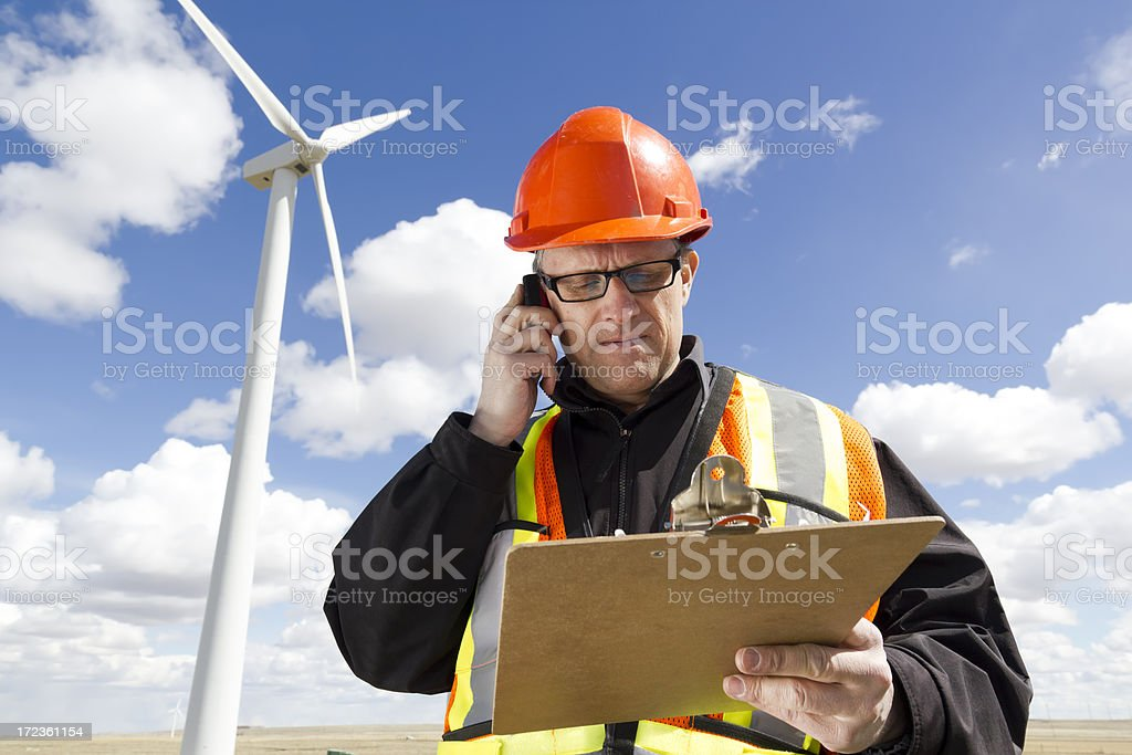 Wind Worker on the Phone royalty-free stock photo