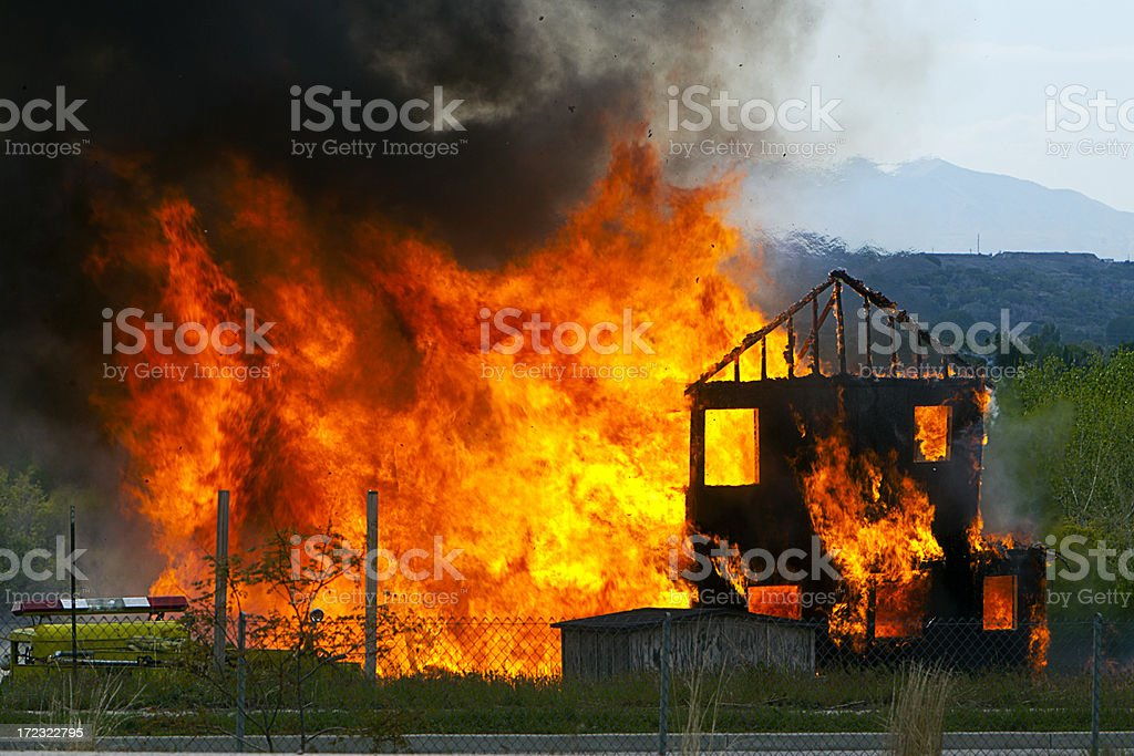 Windblown House Fire stock photo