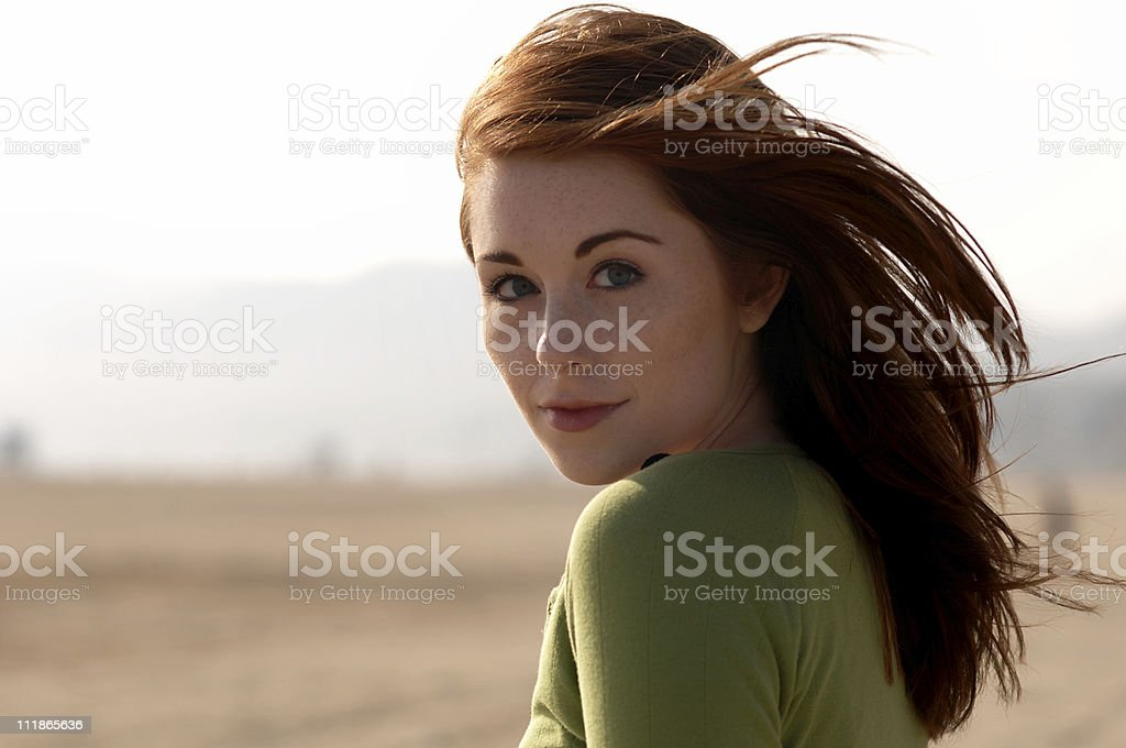 Windblown Redhead royalty-free stock photo