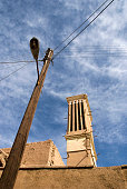 Windcatchers and street light in Yazd, Iran