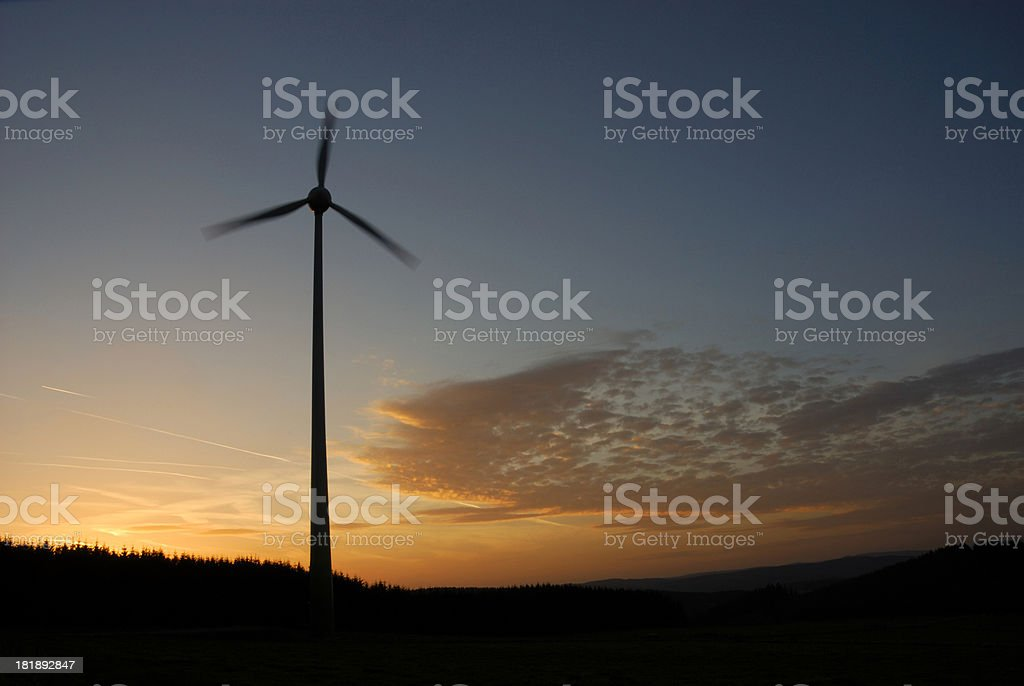 windcraft and evening sky stock photo