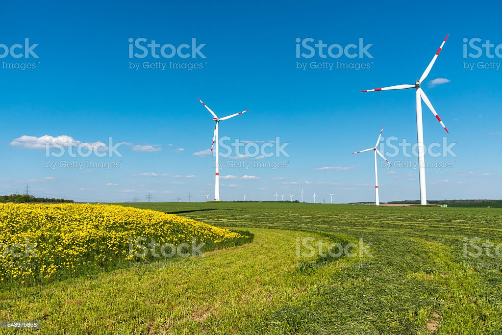 Windengines in the fields stock photo