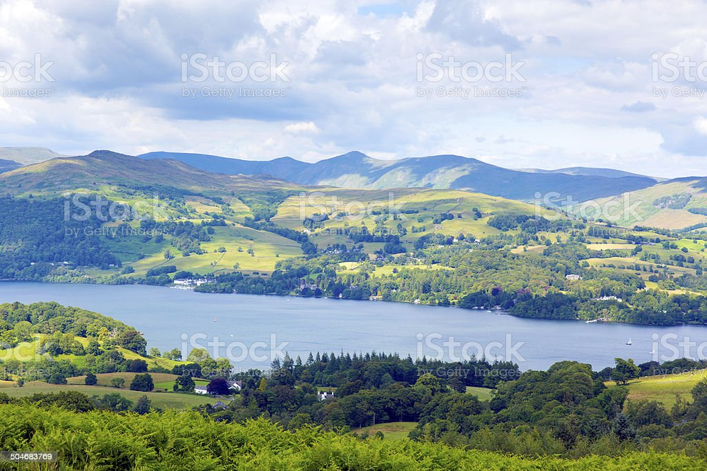 Windermere Lake and mountains The Lakes District National Park  uk stock photo