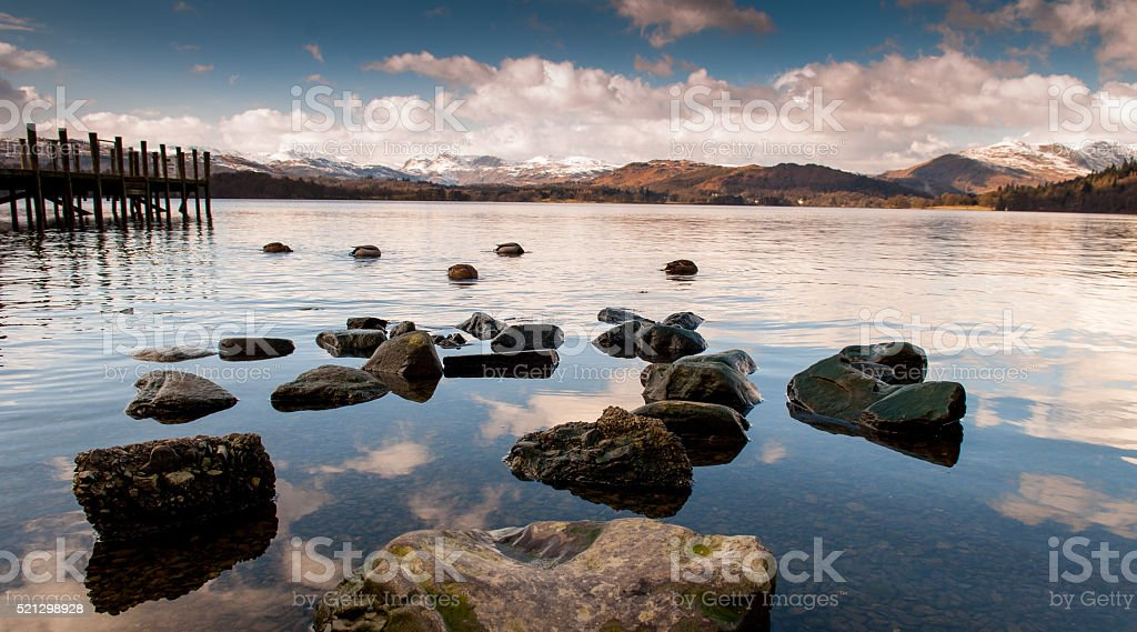 Windermere rocks stock photo