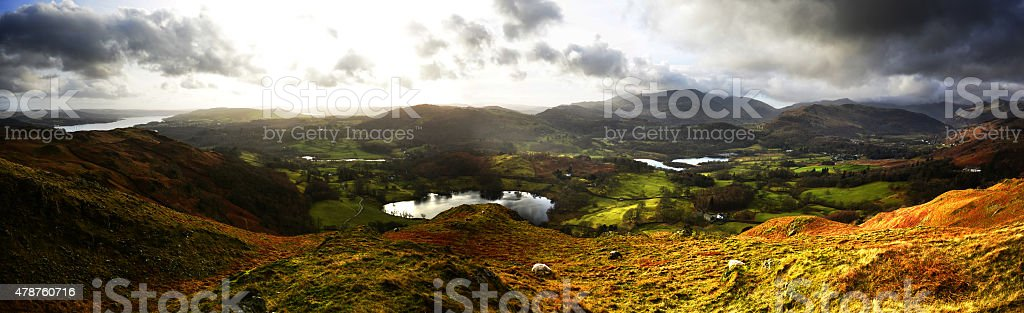 Windermere,Loughrigg Tarn,Elterwater from Loughrigg stock photo