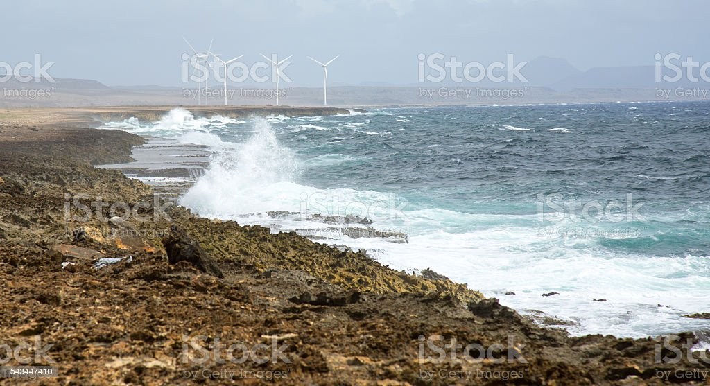Windfarm by the Sea stock photo