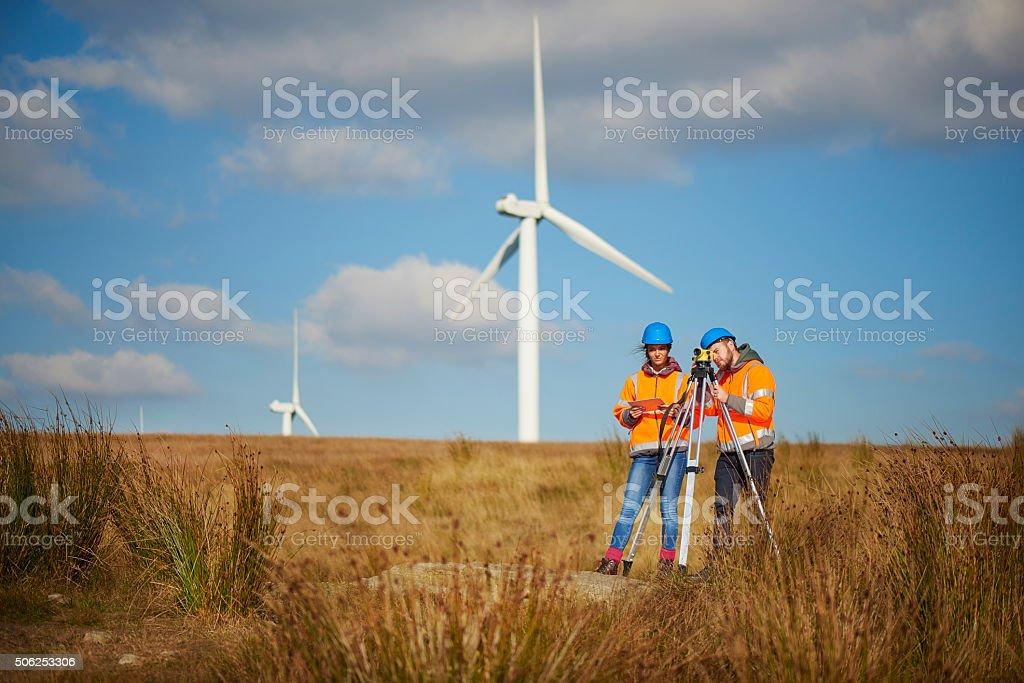 windfarm construction stock photo