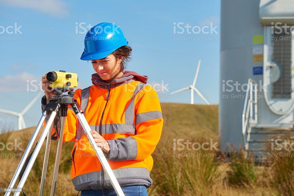 windfarm construction site surveyor stock photo