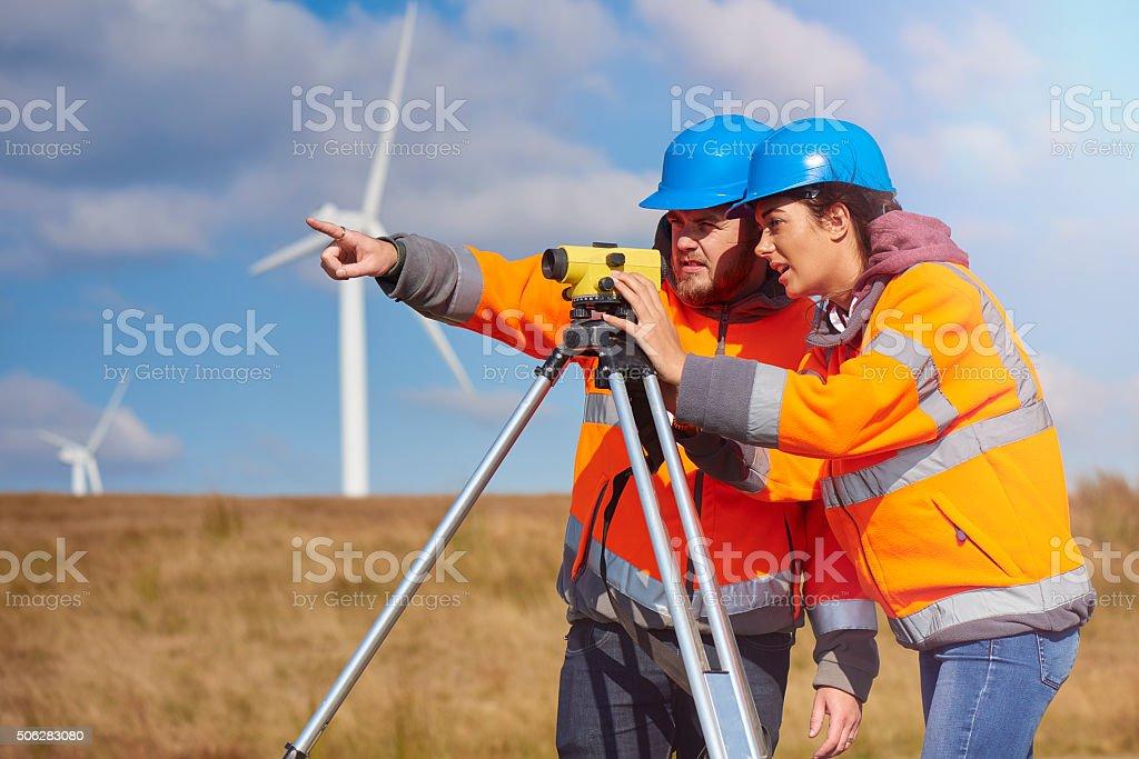 windfarm engineers stock photo