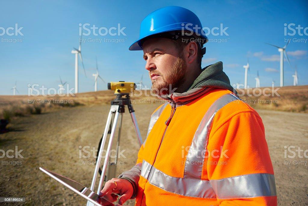 windfarm power engineer stock photo