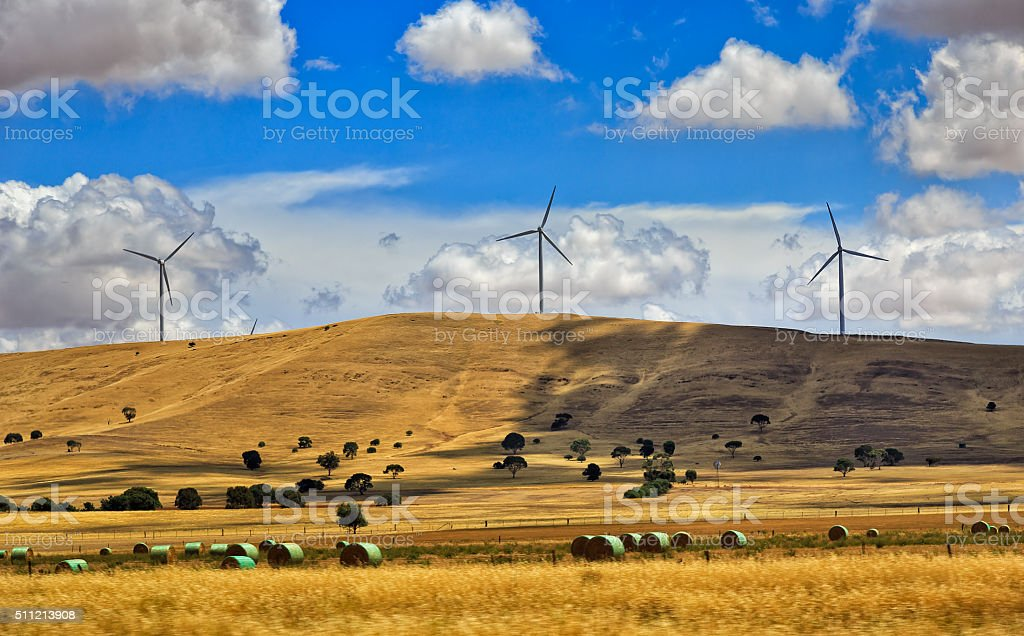 SA Windfarm round hays stock photo