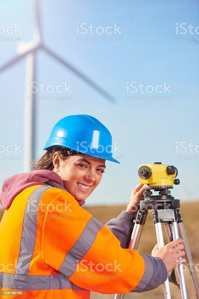 windfarm surveyor stock photo