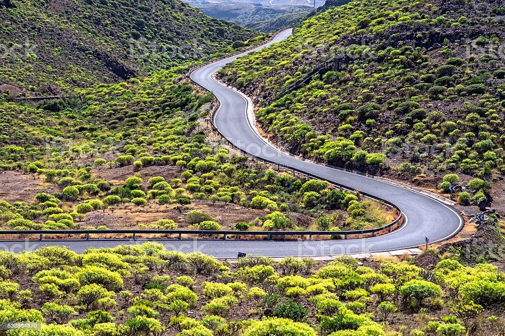 Winding and beautiful road. stock photo