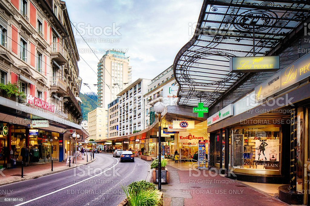 Winding avenue du casino downtown Montreux Switzerland stock photo