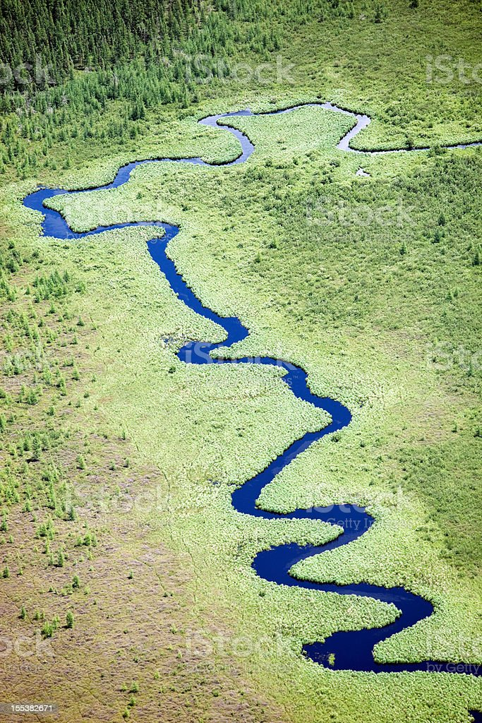 Winding Blue Stream in Wilderness stock photo
