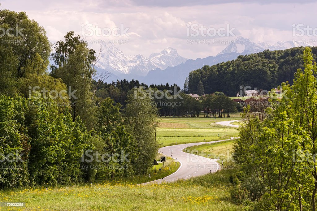 Winding Country Road in the Austrian Alps stock photo