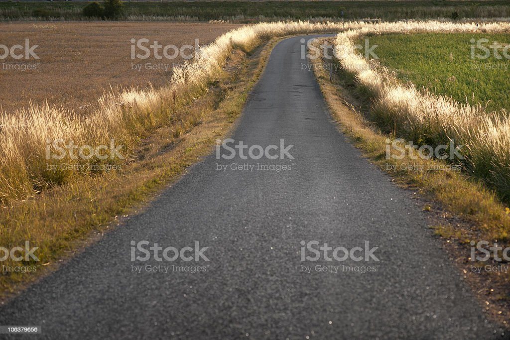 Winding country road stock photo
