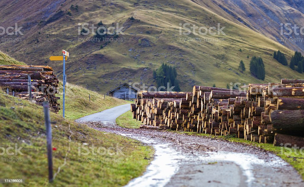 Winding Country road with lumber Alps Switzerland royalty-free stock photo