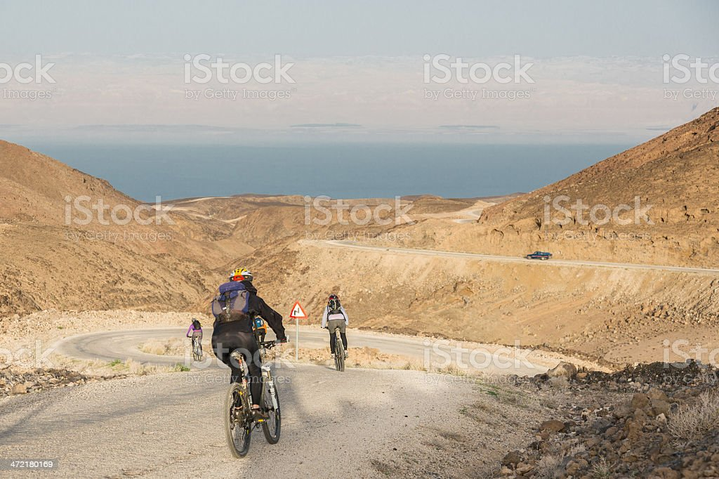 Winding Dead Sea Downhill, Jordan stock photo
