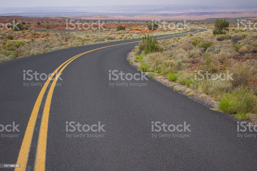 Winding desert road - S Curve royalty-free stock photo