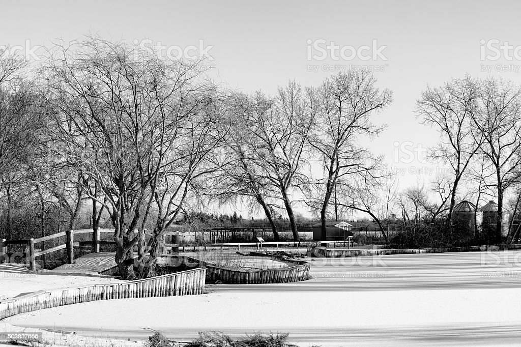 Winding fence posts on snow covered ground stock photo