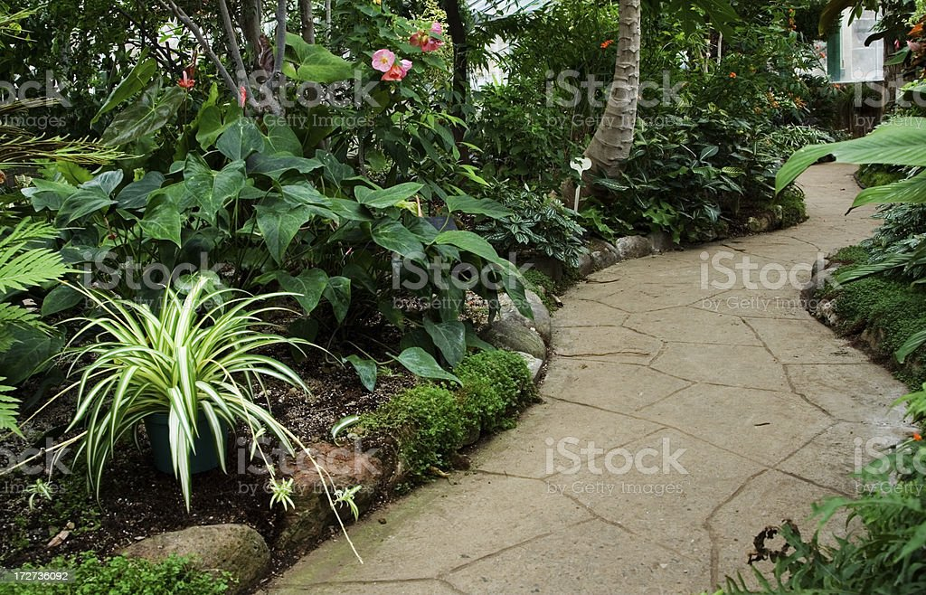 Winding gardening path stock photo