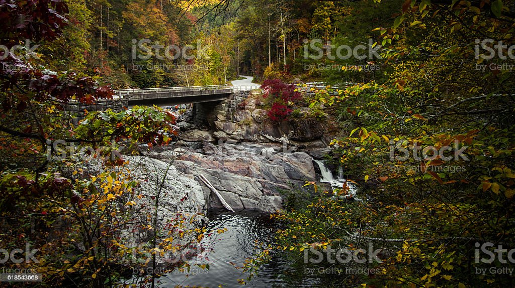 Winding Great Smoky Mountains Road In Autumn stock photo