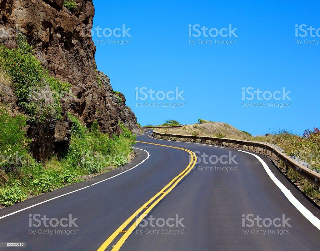 Winding highway along the Maui coastline stock photo