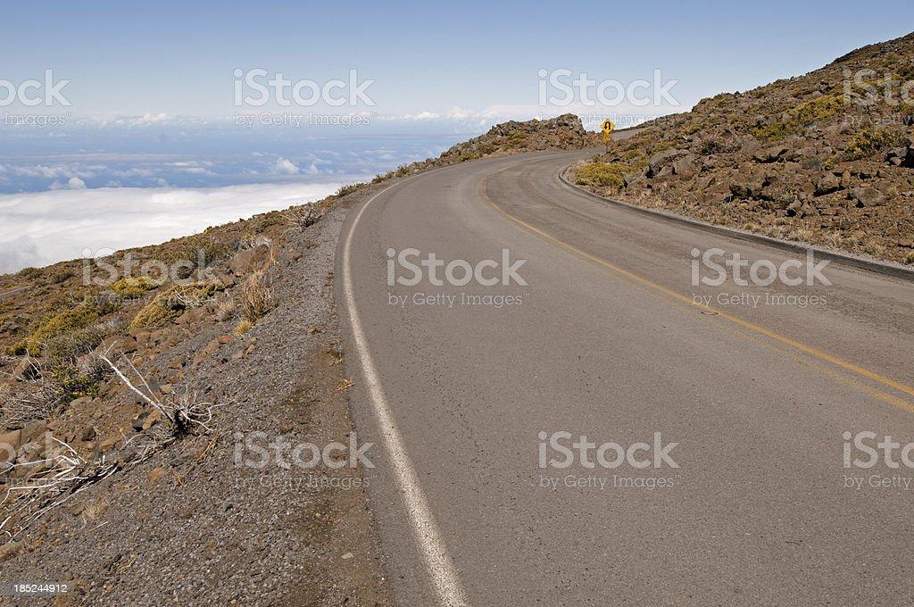 Winding highway to Haleakala Volcano, Maui royalty-free stock photo
