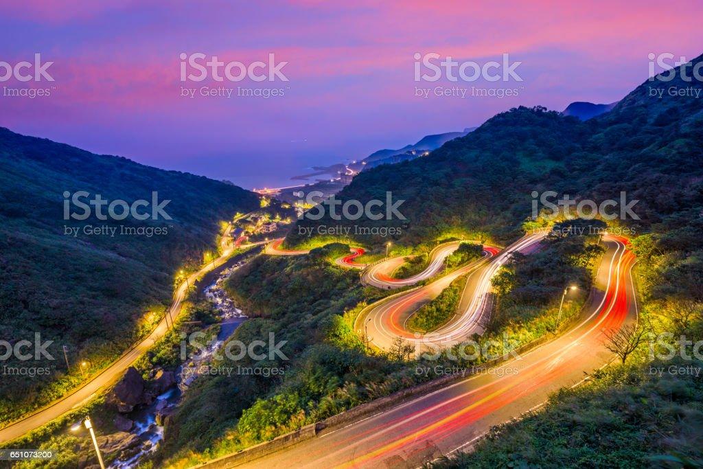 Winding Hillside Roads in Jiufen, Taiwan stock photo