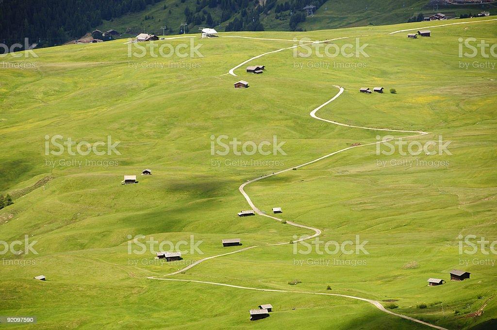 Winding mountain path stock photo