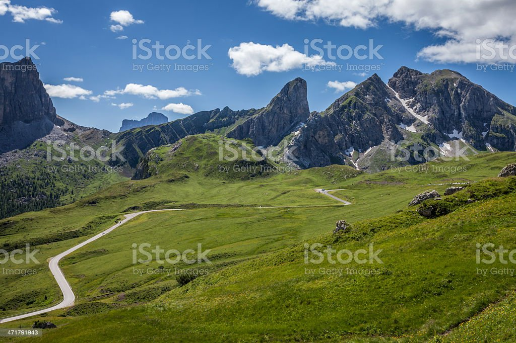 Winding mountain road in the Dolomites, Italy. royalty-free stock photo