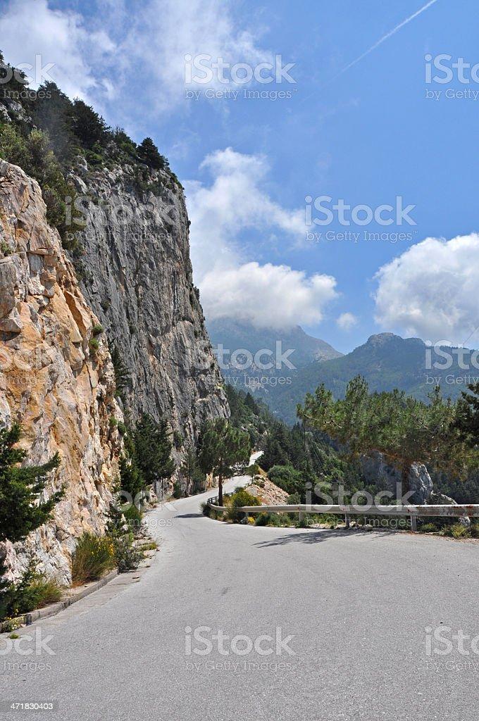 winding mountain road on greek island samos royalty-free stock photo