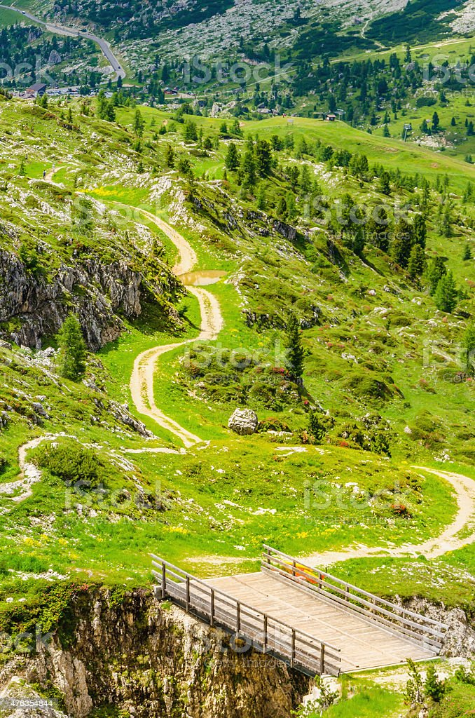 Winding path of Passo Falzarego, Dolomites , Italy stock photo