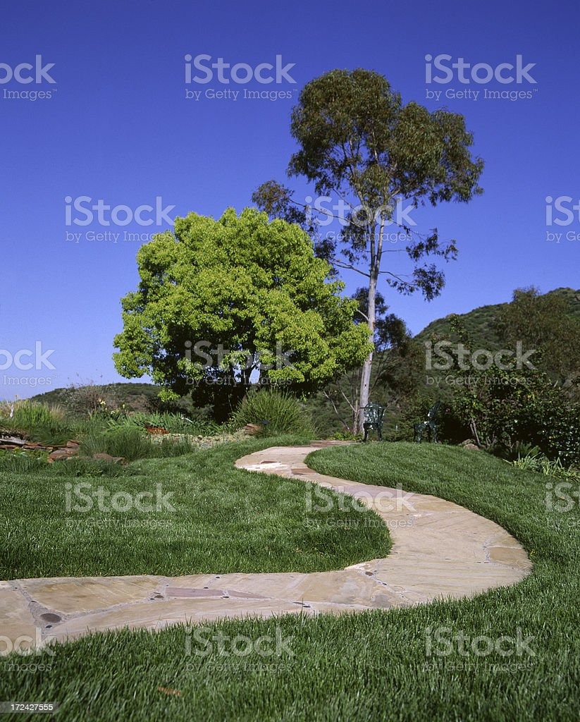 Winding Path to a patio stock photo