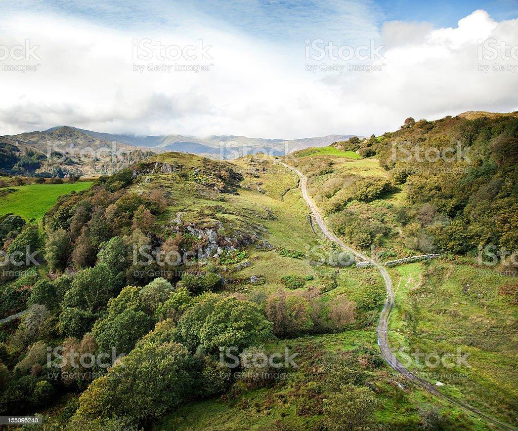 Winding Pathway going uphill stock photo
