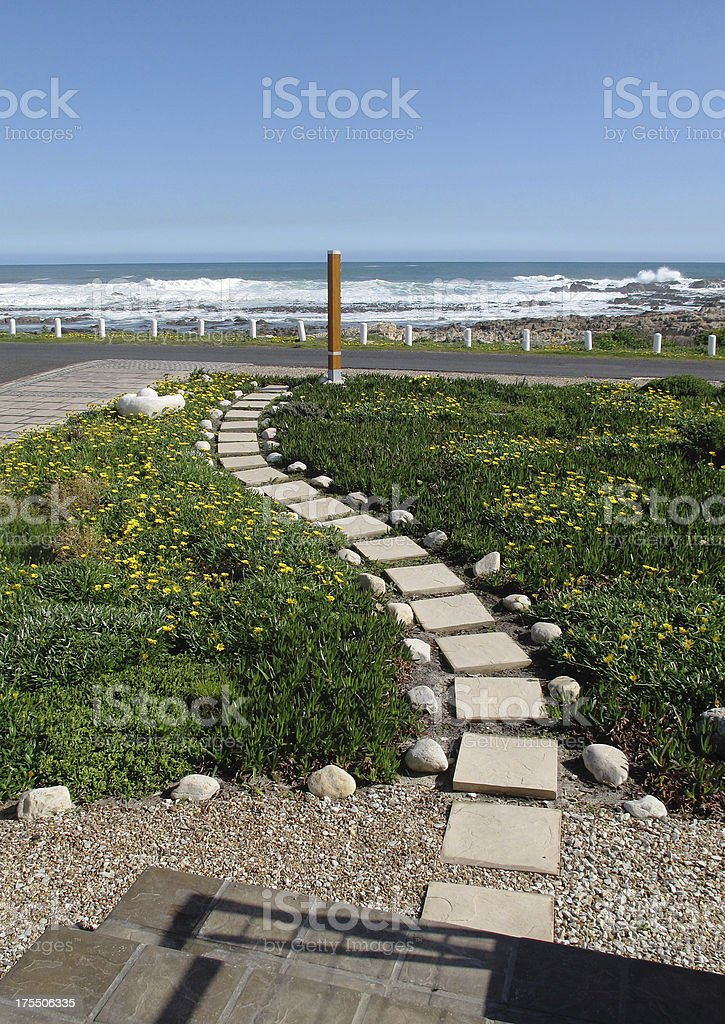 Winding Pathway Through Garden stock photo