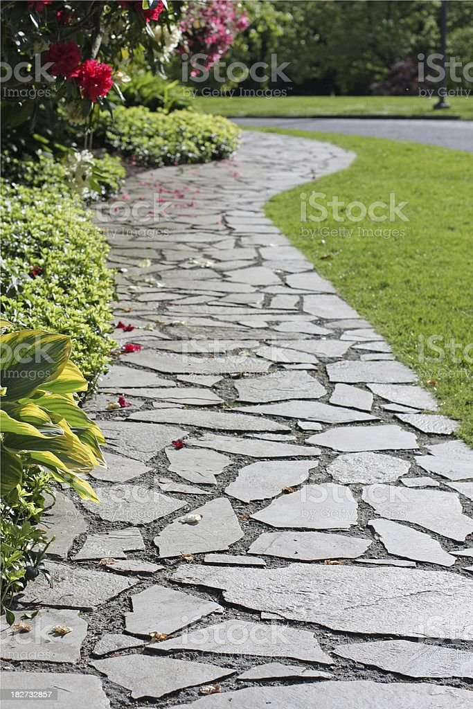 Winding Paved Path on Spring Day in Vancouver, Canada royalty-free stock photo