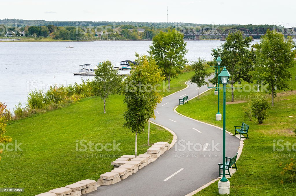 Winding Pedestrian and Cycle Path stock photo