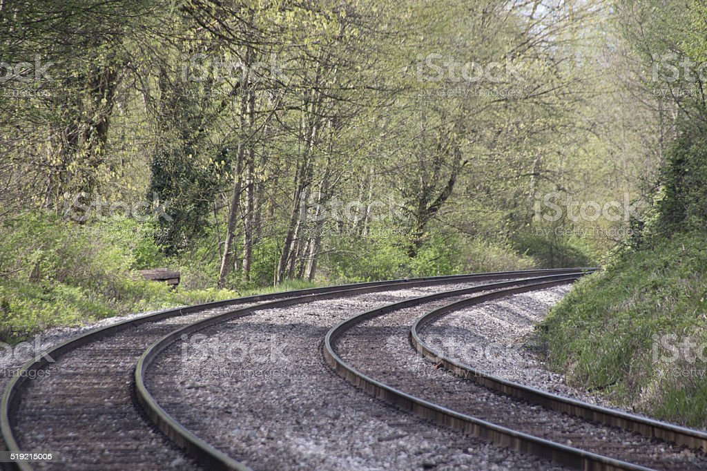 Winding railroad tracks stock photo