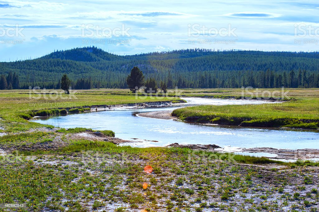 Winding River in Yellowstone National Park Wyoming royalty-free stock photo
